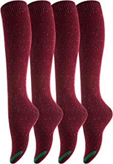 Lovely Annie Women's 4 Pairs Pack Knee High Cotton Boot Socks 6-9(Wine)
