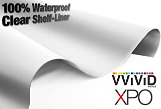 Clear Matte Laminated Roll Sheet Vinyl Wrap Self-Adhesive Satin Underlayer 17.9 Inches x 54 Inches Waterproof Drawer Shelf Liner Rolls
