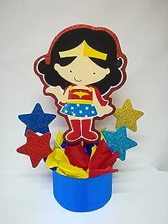 4 WONDER WOMAN CENTERPIECES, WONDER WOMAN PARTY DECORATION, SUPERHERO BIRTHDAY CENTERPIECE WONDER WOMAN CENTERPIECES. WONDER WOMAN BIRTHDAY.