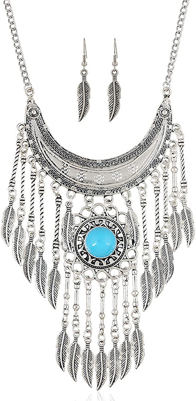 Claire Jin Retro Alloy Leaf Tassel Ethnic Necklace Earrings Jewelry Set Vintage Women Accessories