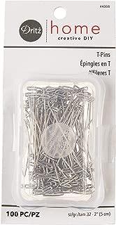 Dritz 44008 Nickel-Plated Steel T-Pins, 100-Pack