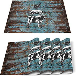 T&H XHome Non-Slip Placemats for Dining Table,Farmhouse Cow Pig Chicken on Rustic Shabby Wooden Grain Washable Table Mats ...