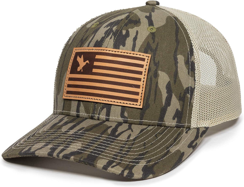 Deer Hunting American Flag Leather Patch Trucker Hat - Adjustable Baseball Cap