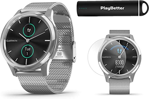 Garmin vivomove Luxe (Milanese/Silver) Power Bundle   +HD Screen Protectors & PlayBetter Portable Charger   Elegant & Sophisticated   Stylish Hybrid Smartwatch