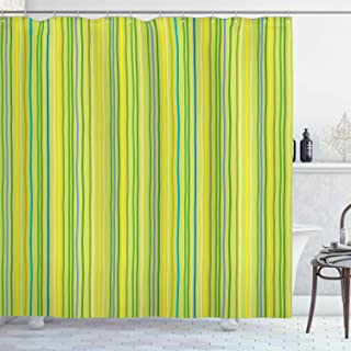 Ambesonne Lime Green Shower Curtain, Pastel Toned Vertical Bands Striped Lines Geometric Soft Print, Cloth Fabric Bathroom Decor Set with Hooks, 70