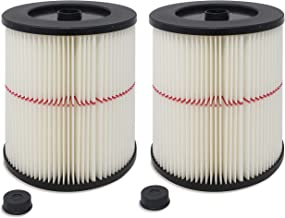 Fette Filter Pack of 2 General Purpose Cartridge Filters   Replacement Filter Compatible with Craftsman Red Stripe Vacuums - Compare to Part #17816 9-17816