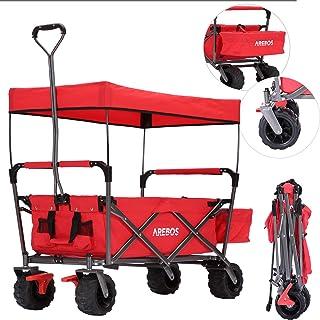 Arebos Bollerwagen Faltbar mit Dach | Handwagen | Klappbar | Gerätewagen | Rot