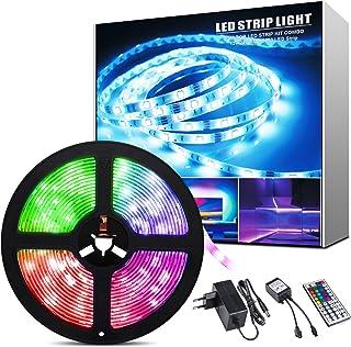 ShinePick taśma LED 5 m, 150 diod LED RGB SMD 5050, zmiana koloru, łańcuch świetlny LED z pilotem zdalnego sterowania z 44...