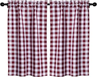 Kaaltisy Buffalo Plaid Half Window Tier Curtains 45 Inches Gingham Plaid Short Cafe Curtains Country Chic Burgundy Tiers K...