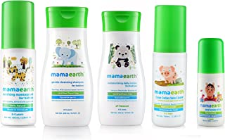 Mamaearth 100 ml Soothing Massage Oil, 200 ml Gentle Cleansing Shampoo for Babies, 200 ml Daily Moisturizing Lotion