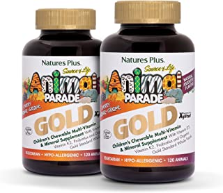 NaturesPlus Animal Parade Source of Life Gold Children's Multivitamin (2 Pack) - Assorted Cherry, Orange & Grape Flavors - 120 Chewable Tablets - Organic, Vegetarian, Gluten-Free - 120 Total Servings