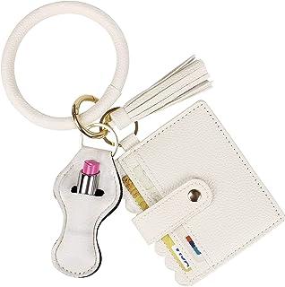 BIHRTC Wristlet Keychain Bracelet Credit Card Holder Bangle Key Ring for Women