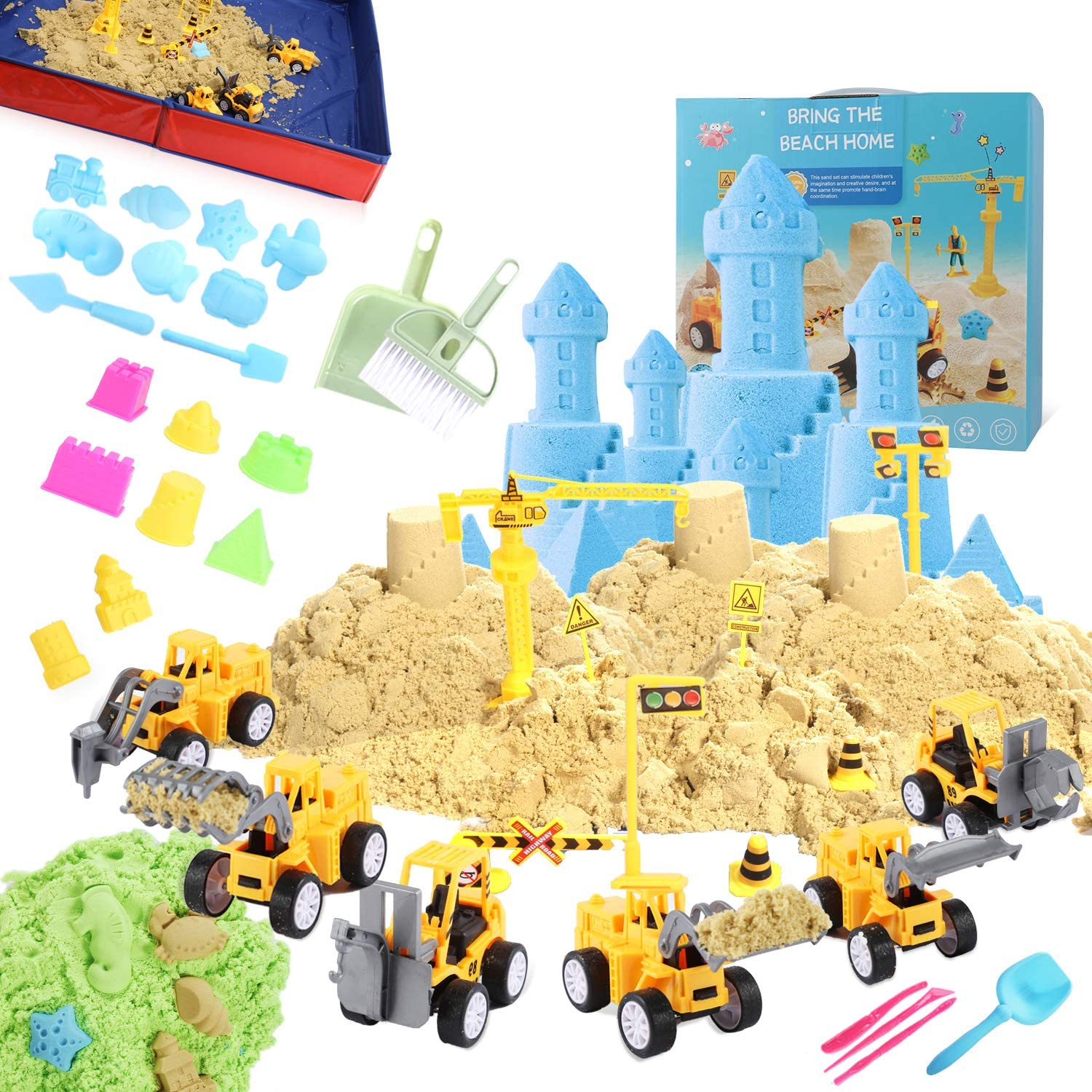 Haplasoo Play Sand for Kids Toys Set 4 Mail order Truck Max 88% OFF Construction 3 lbs