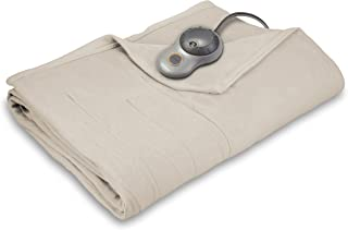 Sunbeam Heated Blanket | 10 Heat Settings, Quilted Fleece, Seashell Beige, Twin - BSF9GTS-R757-13A00