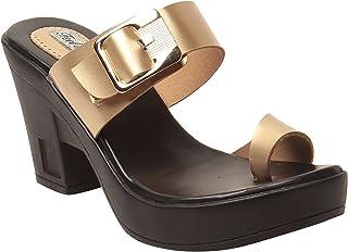 Feel It Leatherite Golden Color Block Heel Slippers For Women's & Girl's