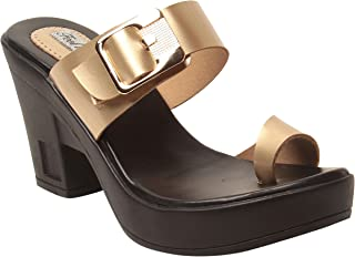 Feel It Leatherite Golden Color Block Heel Slippers For Women's & Girl's