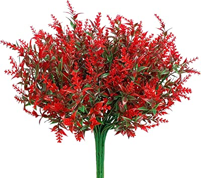 LAPONEE 8 Bundles Artificial Lavender Flowers Plants, Lifelike UV Resistant Fake Shrubs Greenery Bushes Bouquet to Make Your Home Kitchen Garden Indoor Outdoor Decor More Beauty (Red)