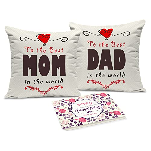 Tied Ribbons Gifts For Mummy Papa Set Of 2 Printed Cushion(12 Inch X 12 Inch,Multicolor) With Inner Filler And Greeting Card