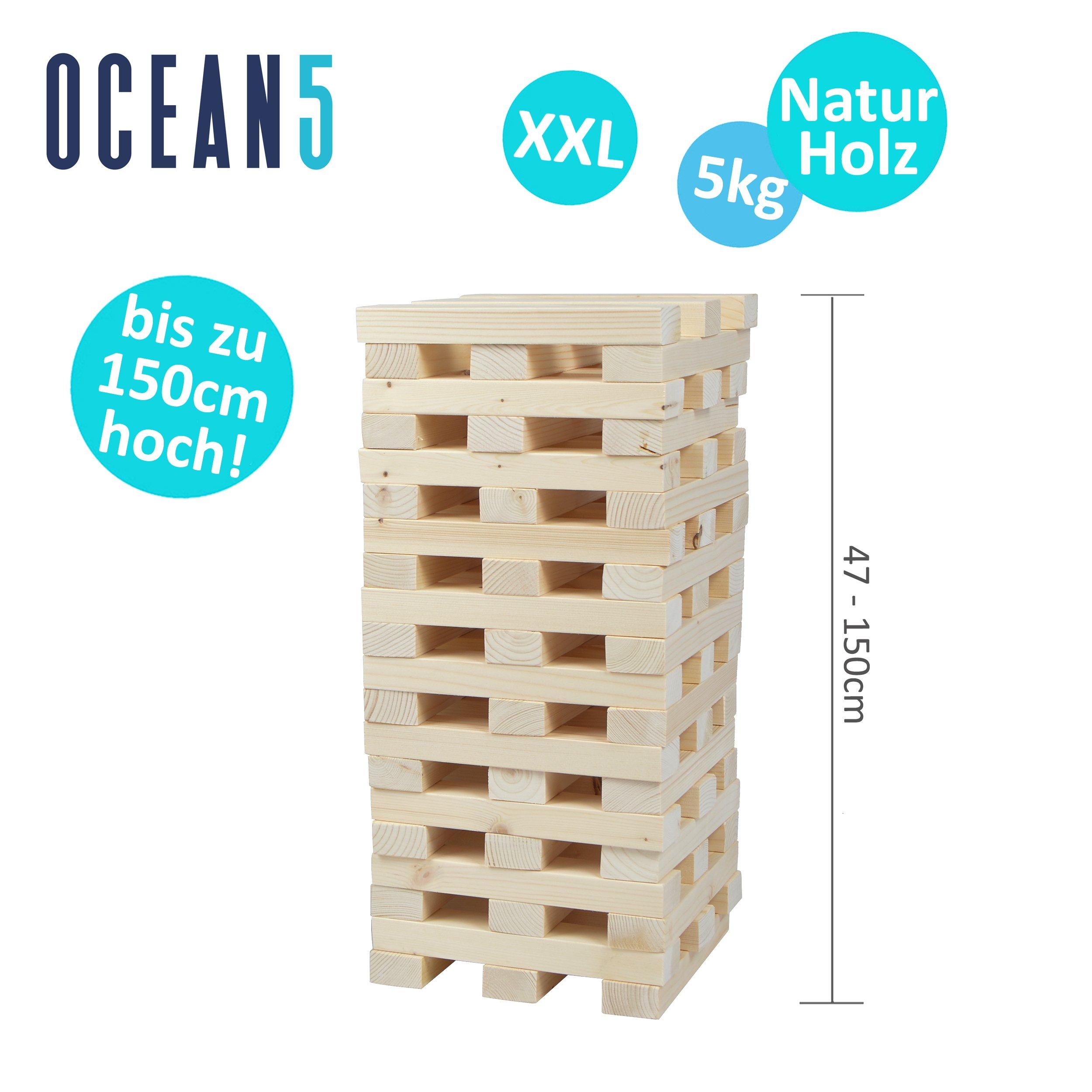 Torre apilable XXL de la Marca Ocean5 de Madera Natural, Juego de Torre Gigante, 60 Piezas (21x4x2,5cm), Construir hasta 1,5 m de Altura con el Juego de Habilidad de Pila: Amazon.es: Juguetes