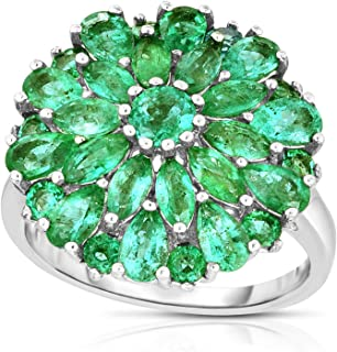 Femme Luxe Dahlia Natural Zambian Emerald Statement Ring for Women, 925 Sterling Silver, Hypoallergenic, Gift Ready Jewelry