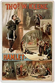 Lantern Press William Shakespeare Hamlet Theatre Poster 4277 (6x9 Aluminum Wall Sign, Wall Decor Ready to Hang)