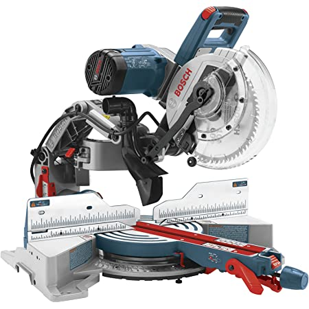 Bosch CM10GD Compact Miter Saw - 15 Amp Corded 10 Inch Dual-Bevel Sliding Glide Miter Saw with 60-Tooth Carbide Saw Blade, Blue