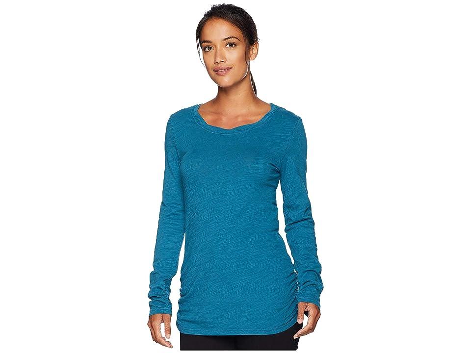 Mod-o-doc Slub Jersey Long Sleeve Twisted Scoop Neck Tee (Dark Turquoise) Women