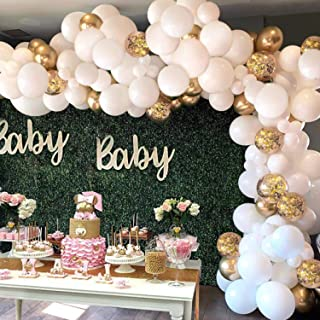 White Balloon Arch Garland Kit - 124 Pieces White Gold and Gold Confetti Latex Balloons for Baby Shower Wedding Birthday Graduation Anniversary Bachelorette Party Background Decorations