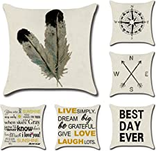 Lawei Set of 6 Throw Pillow Covers - 18 x 18 inch Linen Couch Pillow Covers Farmhouse Cushion Covers Decorative Pillow Covers for Home Sofa Bedding Car