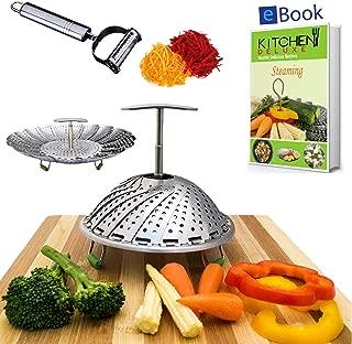 PREMIUM Vegetable Steamer Basket - Extendable Handle - Large - BEST Bundle - Fits Instant Pot Pressure Cooker 5, 6Qt & 8 Quart - 100% Stainless Steel - BONUS Accessories - eBook + Peeler -For Instapot
