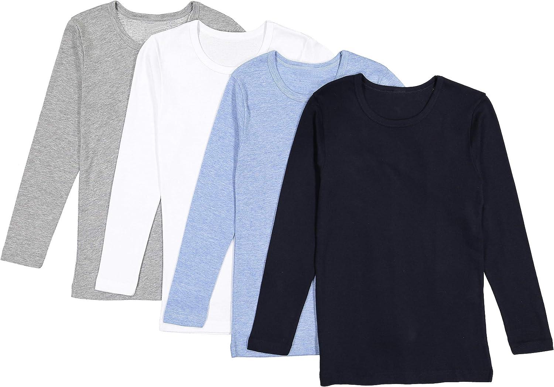 Brix Boys' Long Sleeve Tees - Tagless Crewneck Cotton Soft 4-pk Shirts. 2-20