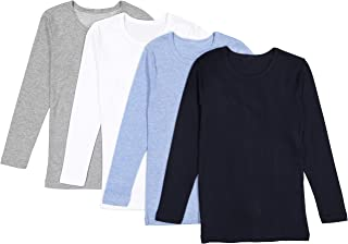 Boys' Long Sleeve Tees - Tagless Crewneck Cotton Soft...