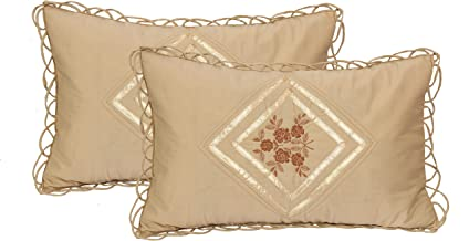 Luxurious Embroidered Cotton Pillow Covers of Standard Size by Rj Products ® - Beige Color