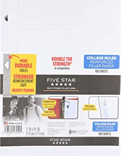 "Five Star Filler Paper, College Ruled, Reinforced, Loose Leaf Paper, 11 x 8.5"", 100 Sheets/Pack Pack Of 3, 17010"