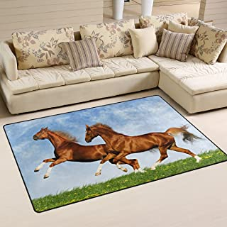 LORVIES Two Horses Frolic On The Plain Area Rug Carpet Non-Slip Floor Mat Doormats for Living Room Bedroom 60 x 39 inches