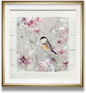 Renditions Gallery 19089-1616GF Sitting Pretty Shiplap II Pink Flower Pictures Bird Art Framed Animals Wall Decor Painting Giclee Canvas Prints, 16 x 16, Gold