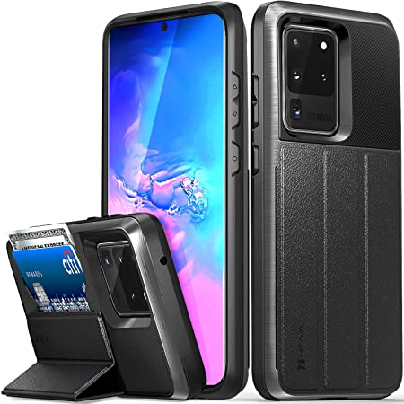 Vena vCommute ウォレットケース Samsung Galaxy S20 Ultra (6.9インチ)対応 (ミリタリーグレード落下保護) フリップレザーカバーカードスロットホルダー キックスタンド付き スペースグレー