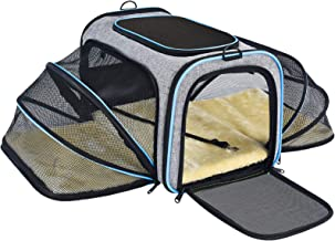 OMORC Pet Carrier Airline Approved, Expandable Foldable Soft-Sided Dog Carrier, 3 Open Doors, 2 Reflective Tapes, Pet Trav...