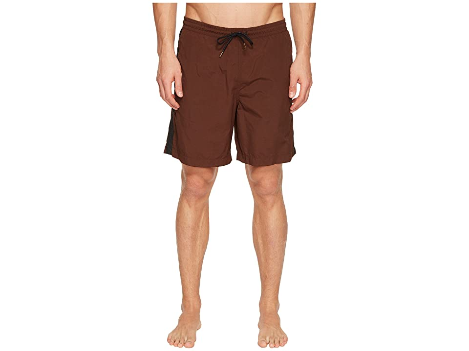 Image of Billy Reid Taped Swim Shorts (Brick) Men's Swimwear