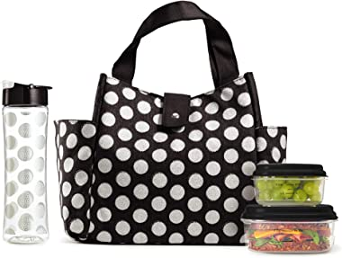Fit & Fresh 989FFWB1769 Insulated Lunch Bag Kit, Includes Matching Bottle and Containers, Westport Black Double Dot 12.50