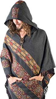Handmade Hooded Mens Poncho Dark Grey Cashmere Wool with Large Hood and Pockets Jungle Primitive Gypsy Festival Mexican Tribal Embroidered Celtic Earthy Winter Tibetan AJJAYA Wild …