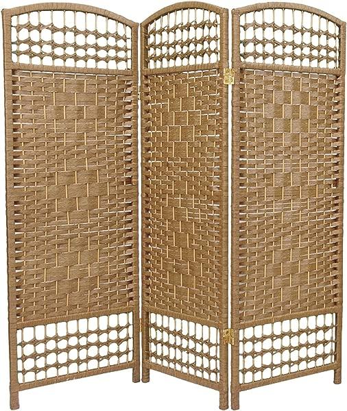 东方家具 4 英尺高纤维编织房间隔断天然 3 板