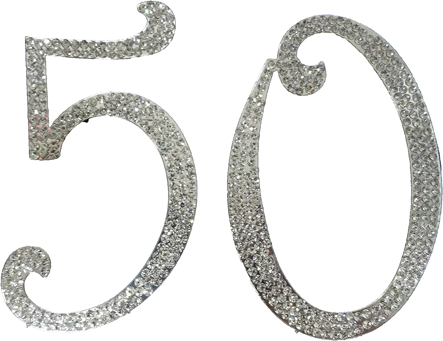 Number 50 Rhinestone Max 47% OFF Crystal Cake Silver Letter Topper Numbers Sale item