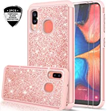 Samsung Galaxy A30 / A20 Case with Tempered Glass Screen Protector [2 Pack] for Girls Women, LeYi Glitter Bling Dual Layer Heavy Duty Protective Phone Cover Cases for Galaxy A20 / A30/A205U Rose Gold
