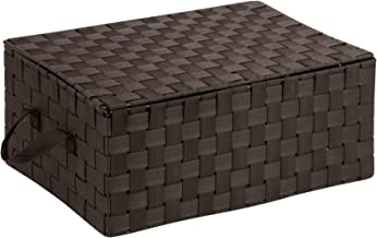 Honey-Can-Do OFC-03704 Double Woven Storage Chest Box with Lid and Handles, 12 by 17 by 7-Inch, Espresso