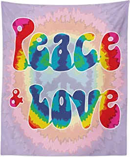 Ambesonne Groovy Tapestry, Peace and Love Text in Tie Dye Effect Pattern Energetic Youthful Fun 60s 70s Hippie, Fabric Wall Hanging Decor for Bedroom Living Room Dorm, 23