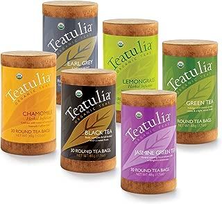 Teatulia Organic Tea Sampler Gift Set, 180 Classic Herbal Tea Infuser Bags in 6 Assorted Varieties (Earl Grey, Chamomile, Black, Jasmine, Green, Lemon Grass) Eco-Friendly Assortment Box for Tea Lovers
