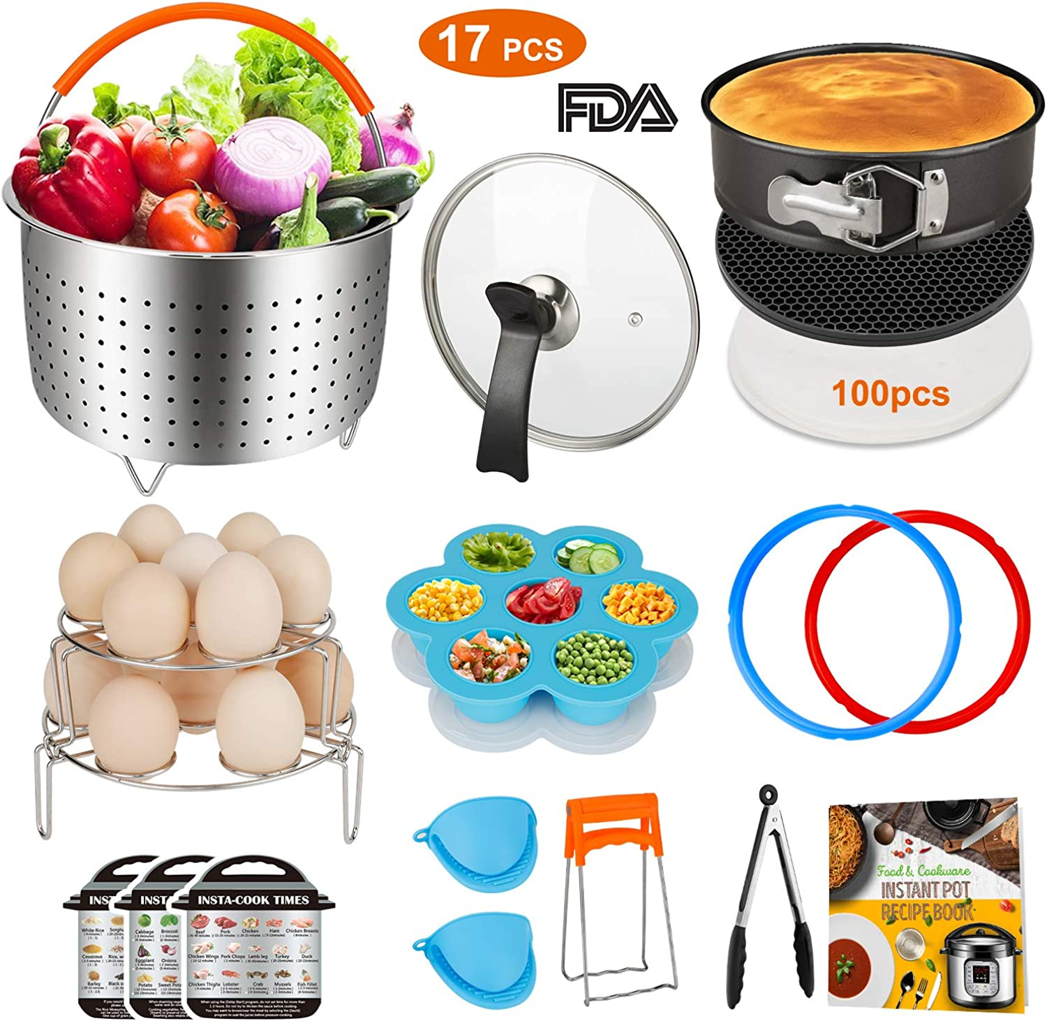 Accessories Set for 8 Quart Instant Pot Only with Sealing Rings, Tempered Glass Lid, and Steamer Basket.