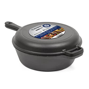 Westinghouse Pre-Seasoned Cast Iron 3 Quart Dutch Oven with Skillet Lid