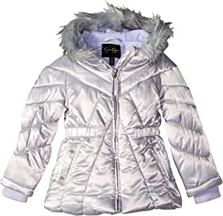 Girls' Puffy Winter Coat with Cozy Trimmed Hood